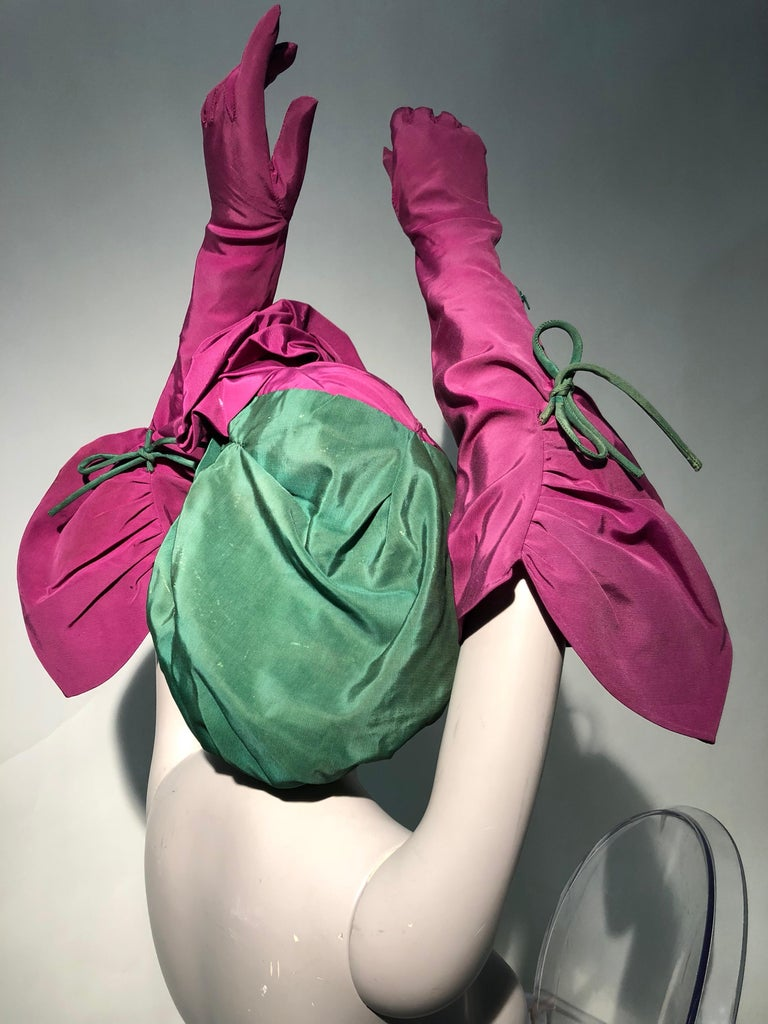 Rare 1940s Sally Victor Fuchsia & Green Hat & Opera Glove Ensemble For Sale 3