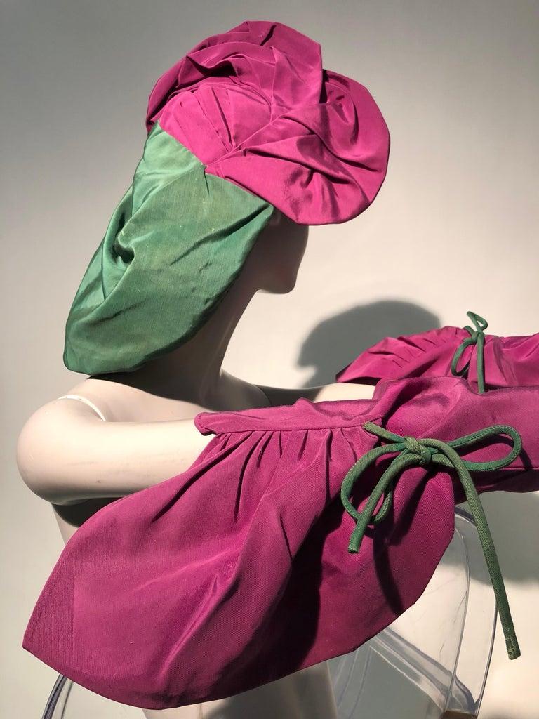 Rare 1940s Sally Victor Fuchsia & Green Hat & Opera Glove Ensemble For Sale 5