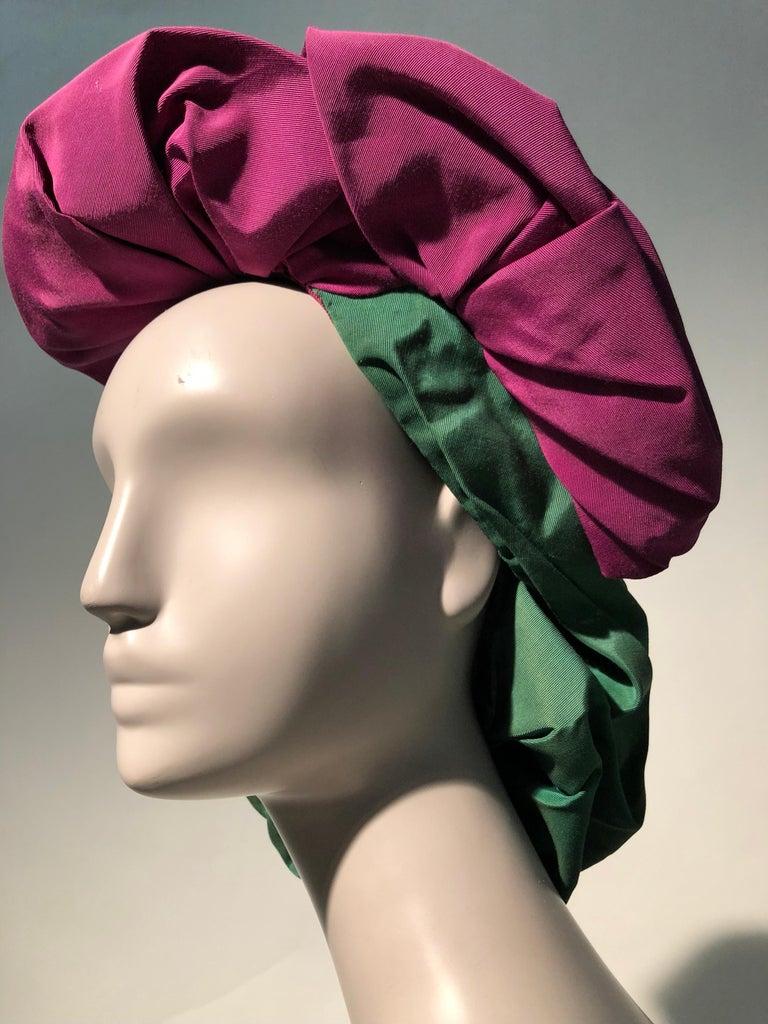Rare 1940s Sally Victor Fuchsia & Green Hat & Opera Glove Ensemble For Sale 7
