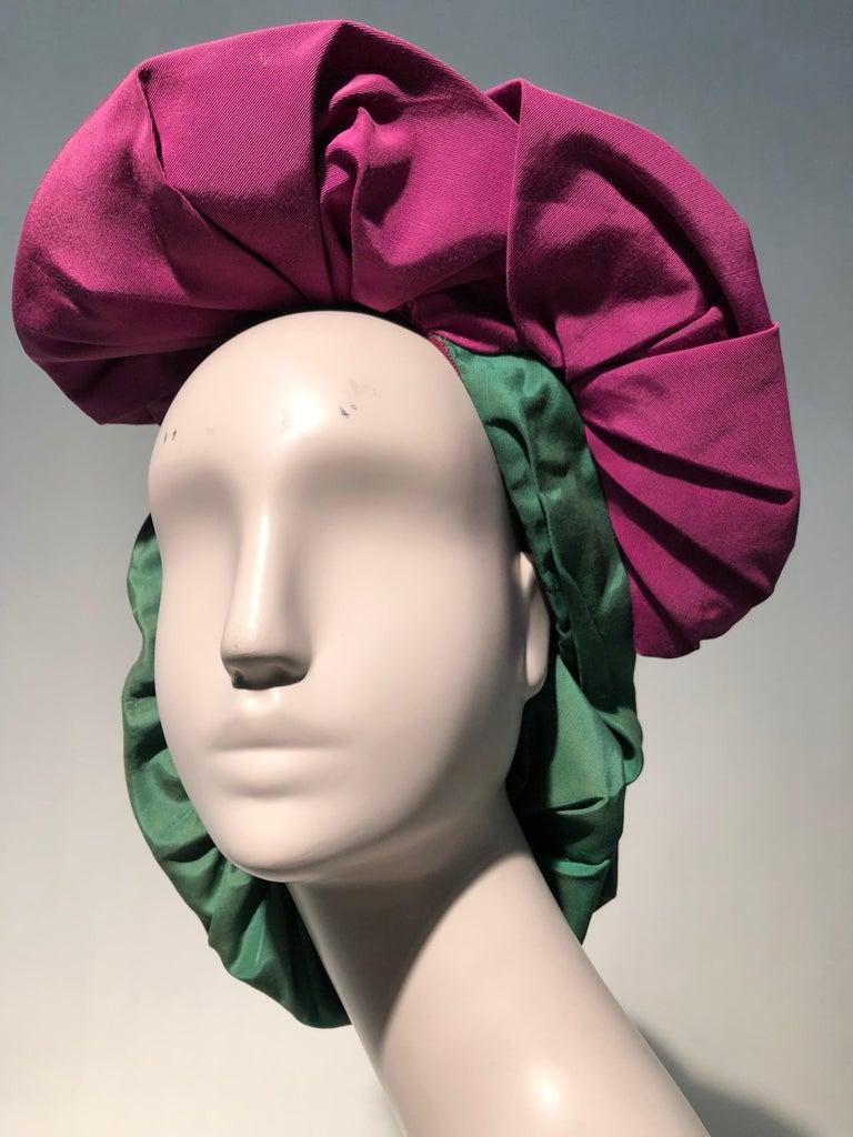 Rare 1940s Sally Victor Fuchsia & Green Hat & Opera Glove Ensemble For Sale 8