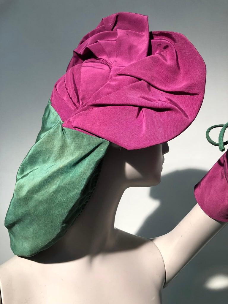 Rare 1940s Sally Victor Fuchsia & Green Hat & Opera Glove Ensemble For Sale 9