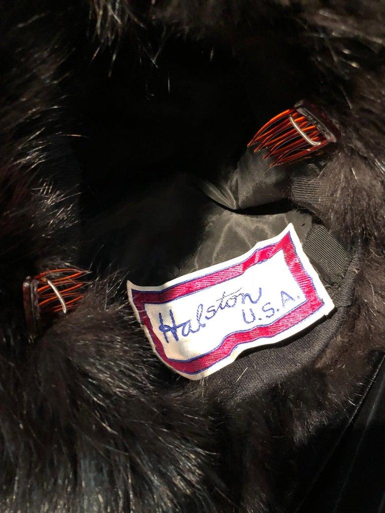 Halston Luxurious Black Silk Velvet Fox Fur Cape & Fox Fur Hat Ensemble For Sale 6