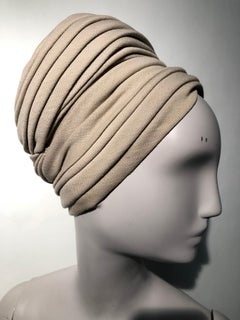 1950s Lilly Daché Tall Hollywood Style Ruched Turban in Mushroom Wool Knit