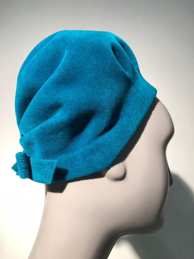 3b42cea3d6e 1960s Azure Blue Hubert de Givenchy Velour Fur Felt Mod Bubble Hat W  Bow In