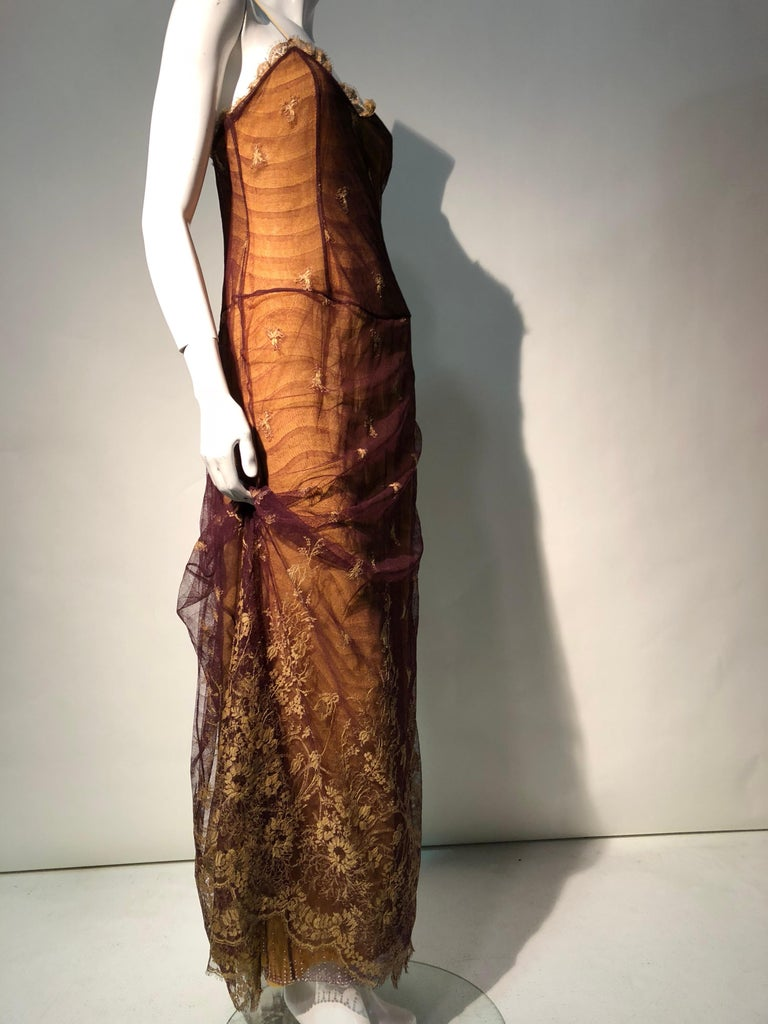 1930s Inspired Chloe Slip Gown In Yellow Silk W/ Burgundy Chantilly-Style Lace  In Excellent Condition For Sale In San Francisco, CA