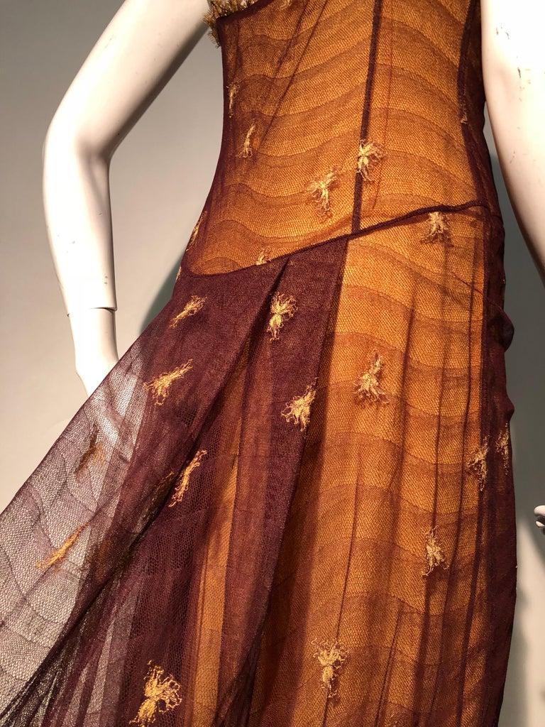 Women's 1930s Inspired Chloe Slip Gown In Yellow Silk W/ Burgundy Chantilly-Style Lace  For Sale
