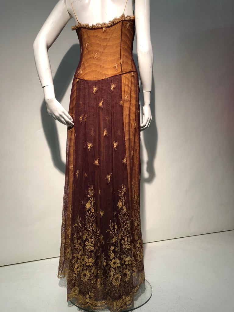 1930s Inspired Chloe Slip Gown In Yellow Silk W/ Burgundy Chantilly-Style Lace  For Sale 2