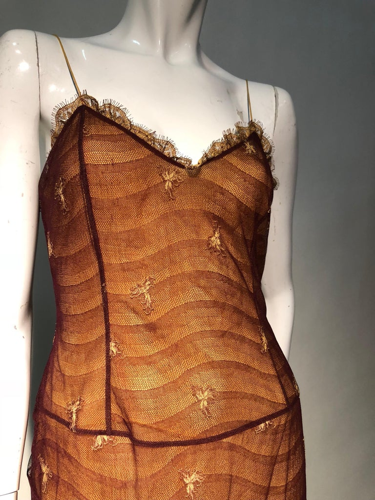 1930s Inspired Chloe Slip Gown In Yellow Silk W/ Burgundy Chantilly-Style Lace  For Sale 3