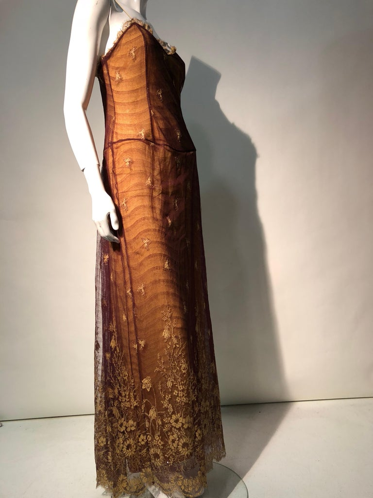 1930s Inspired Chloe Slip Gown In Yellow Silk W/ Burgundy Chantilly-Style Lace  For Sale 4