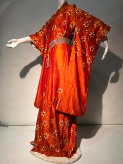 1940s Burnt Orange Raw Silk Spring Kimono W/ Embroidered Daisies & Beaded Belt