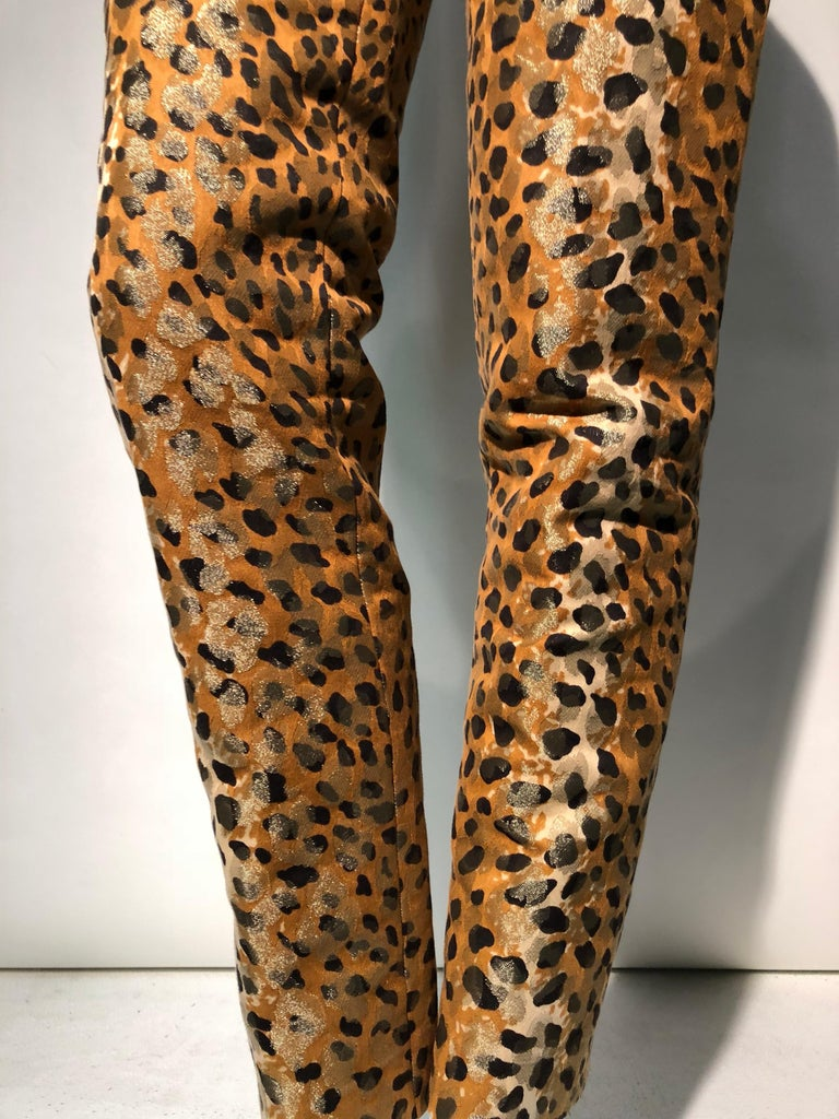 A spectacular 1980s Bill Blass leopard patterned silk lamé cigarette pant. Very fitted and lean. Center back zipper.