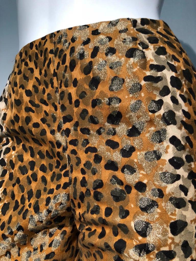 1980s Bill Blass Leopard Brocade Lamé Cigarette Pants For Sale 1