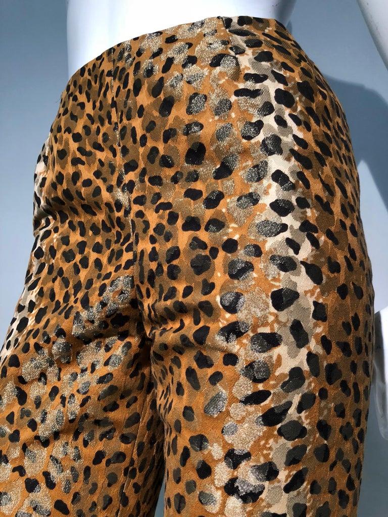 1980s Bill Blass Leopard Brocade Lamé Cigarette Pants For Sale 2