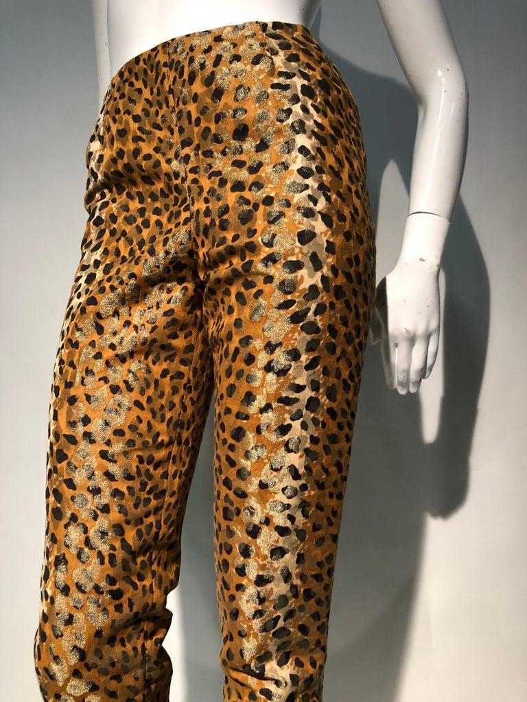 1980s Bill Blass Leopard Brocade Lamé Cigarette Pants For Sale 3