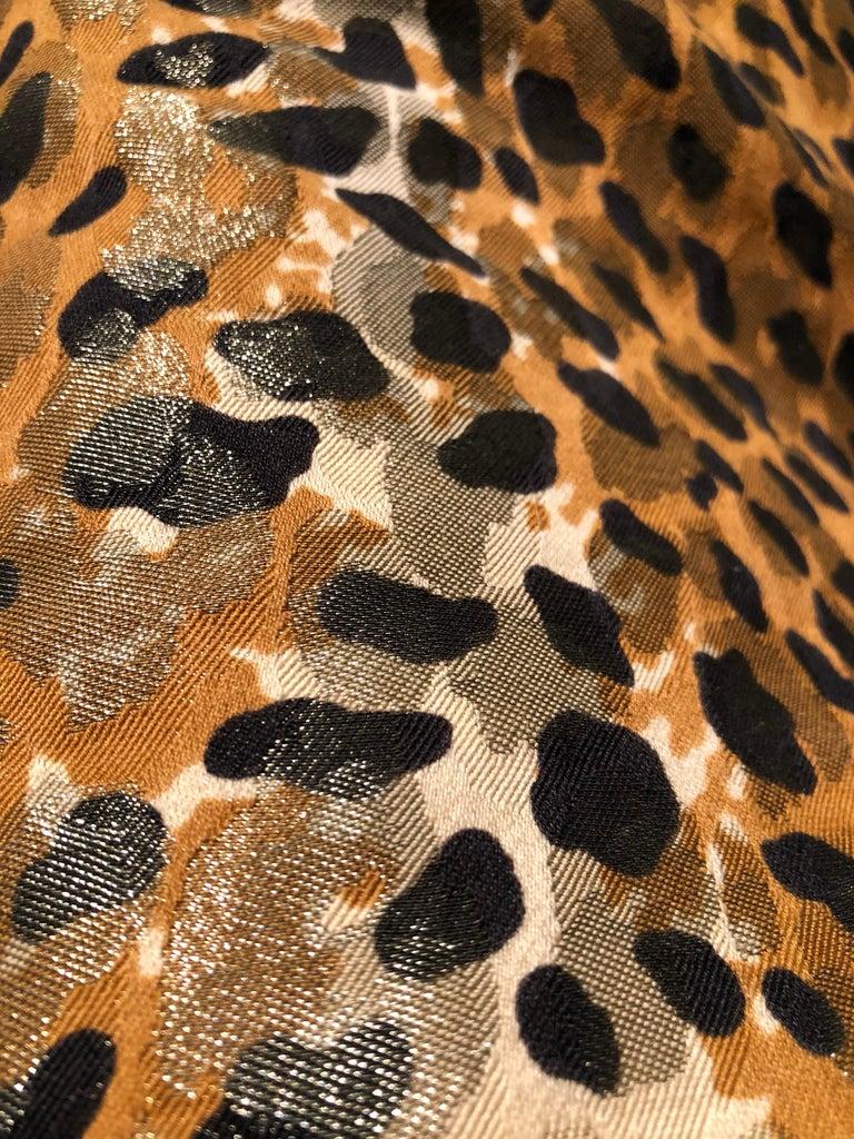 1980s Bill Blass Leopard Brocade Lamé Cigarette Pants For Sale 4