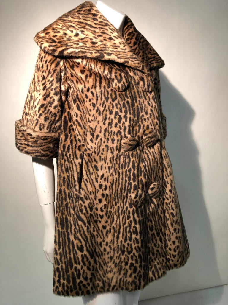 Brown 1950s Kashan Faux Leopard Fur Swing Coat With Shawl Collar  For Sale