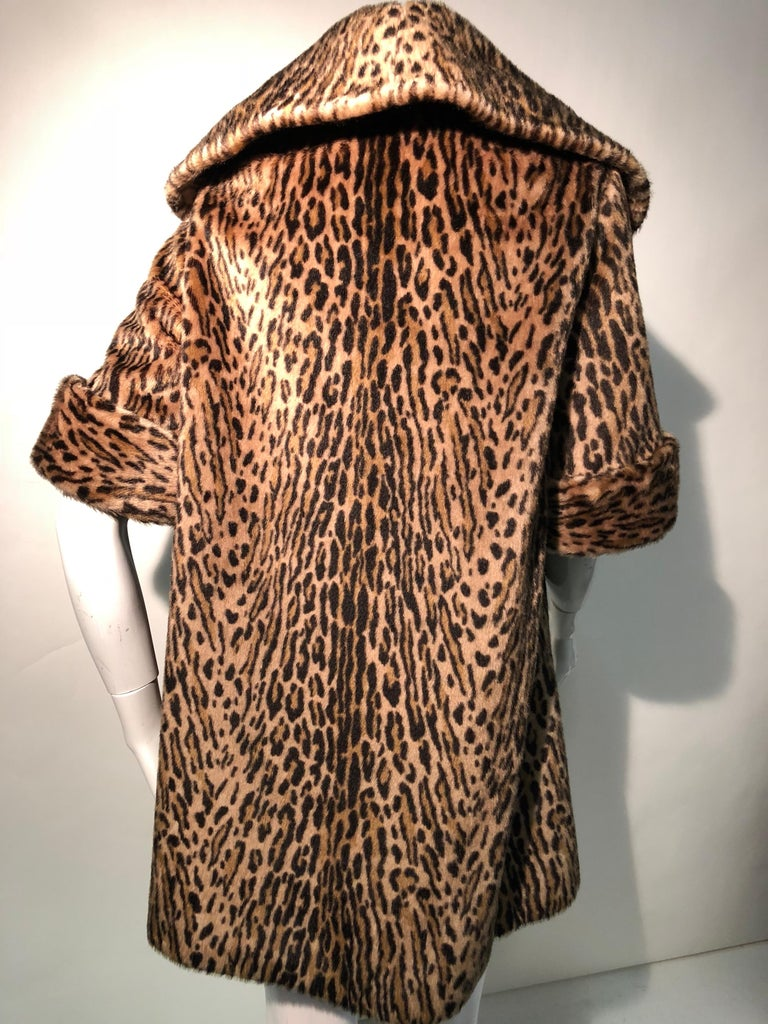 Women's 1950s Kashan Faux Leopard Fur Swing Coat With Shawl Collar  For Sale