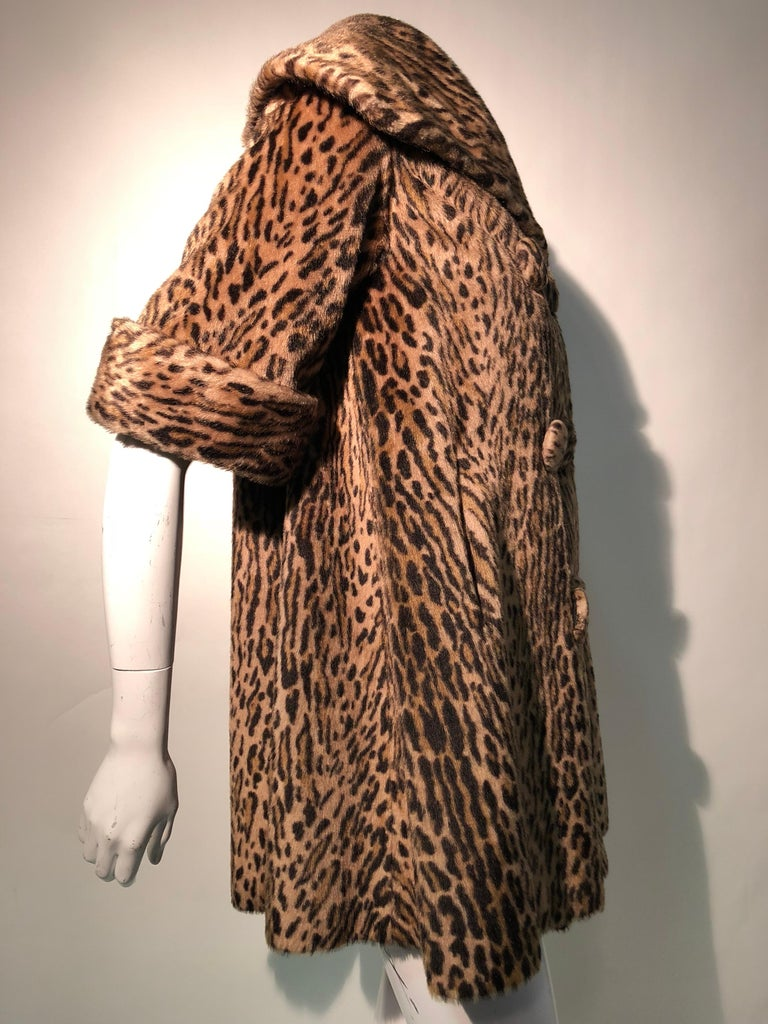 1950s Kashan Faux Leopard Fur Swing Coat With Shawl Collar  For Sale 1