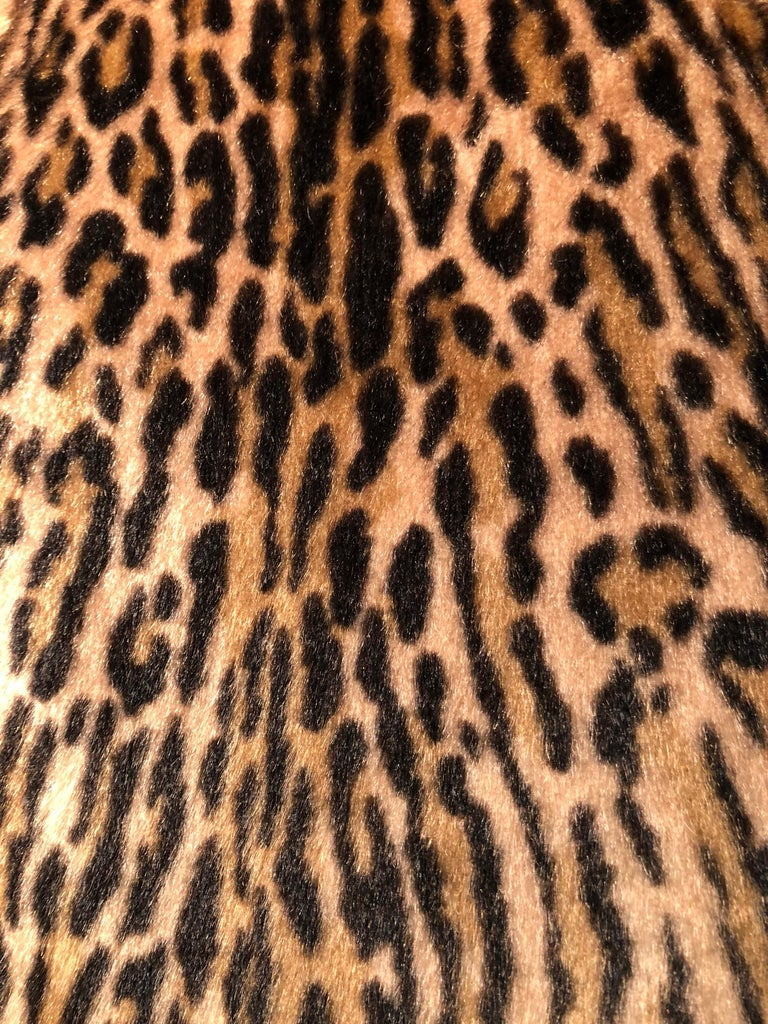 1950s Kashan Faux Leopard Fur Swing Coat With Shawl Collar  For Sale 7