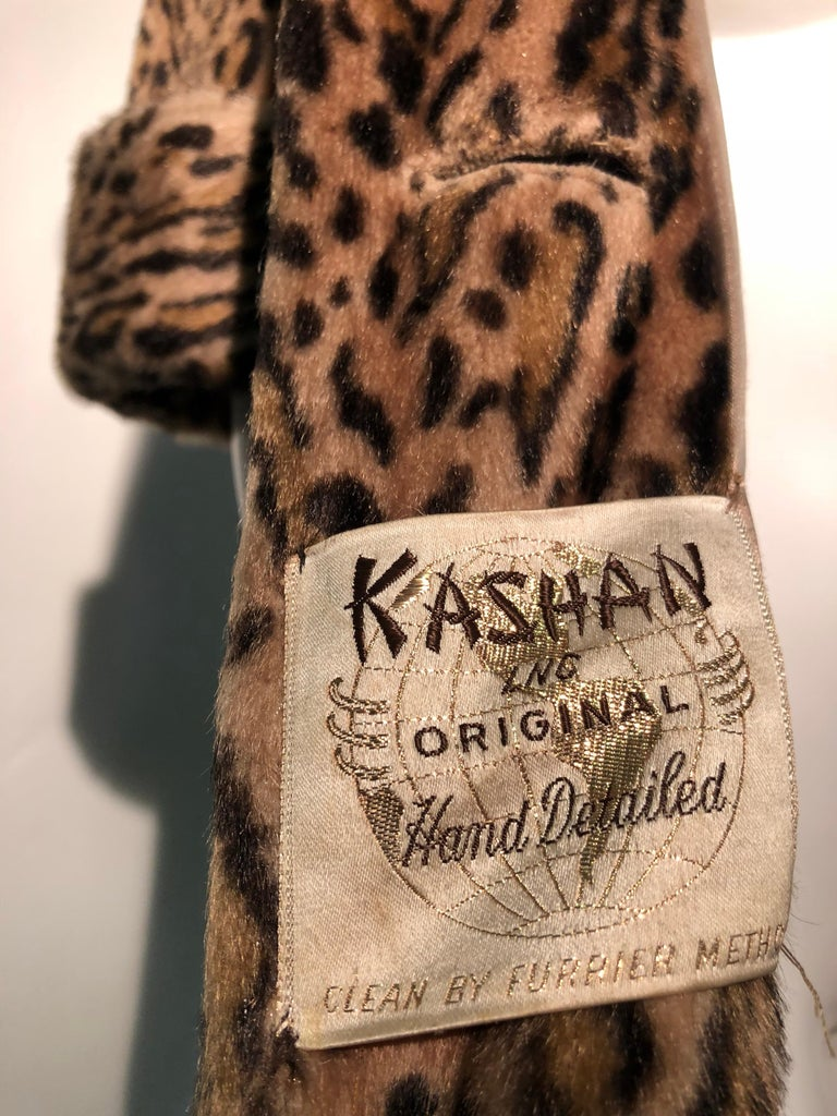 1950s Kashan Faux Leopard Fur Swing Coat With Shawl Collar  For Sale 8
