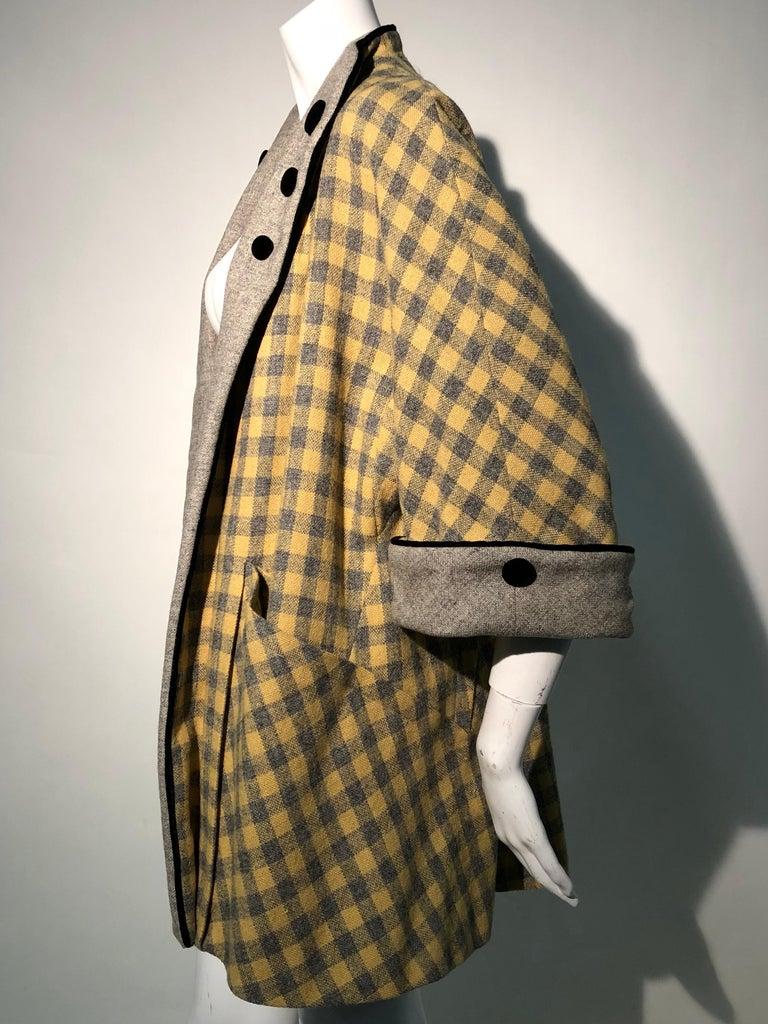 1950s Pierre Benoit Yellow & Gray Checked Wool Stroller Coat W/ Velvet Buttons 2