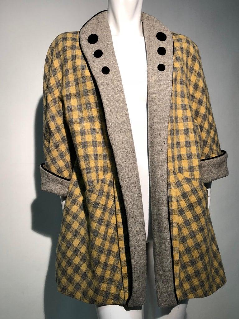 1950s Pierre Benoit Yellow & Gray Checked Wool Stroller Coat W/ Velvet Buttons 3