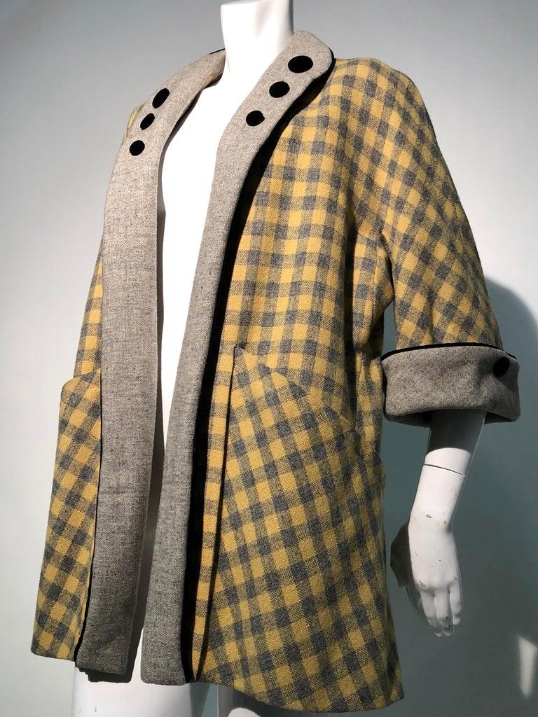 1950s Pierre Benoit Yellow & Gray Checked Wool Stroller Coat W/ Velvet Buttons 4
