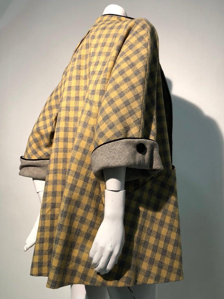 1950s Pierre Benoit Yellow & Gray Checked Wool Stroller Coat W/ Velvet Buttons 6