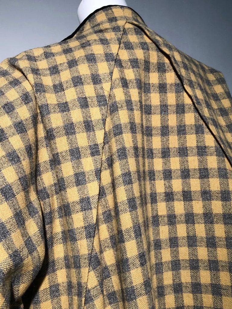 1950s Pierre Benoit Yellow & Gray Checked Wool Stroller Coat W/ Velvet Buttons 7