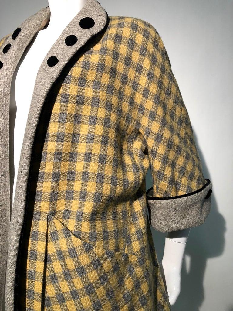 1950s Pierre Benoit Yellow & Gray Checked Wool Stroller Coat W/ Velvet Buttons 12