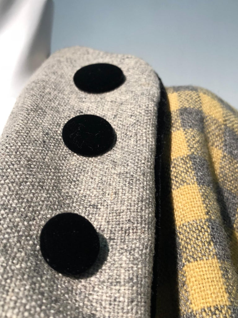 1950s Pierre Benoit Yellow & Gray Checked Wool Stroller Coat W/ Velvet Buttons 16
