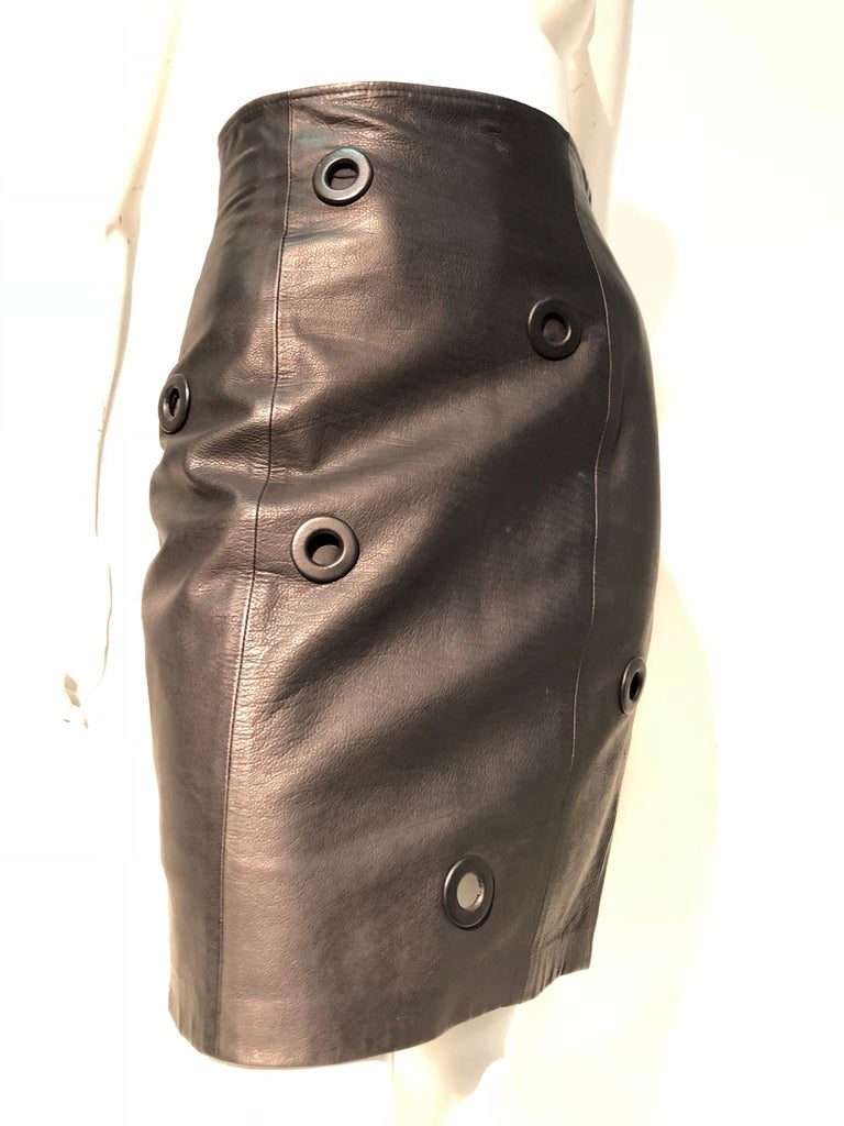bbfac3cea13d 1980s Gianfranco Ferré High-Waisted Black Leather Mini Skirt W/ Large  Eyelets For Sale