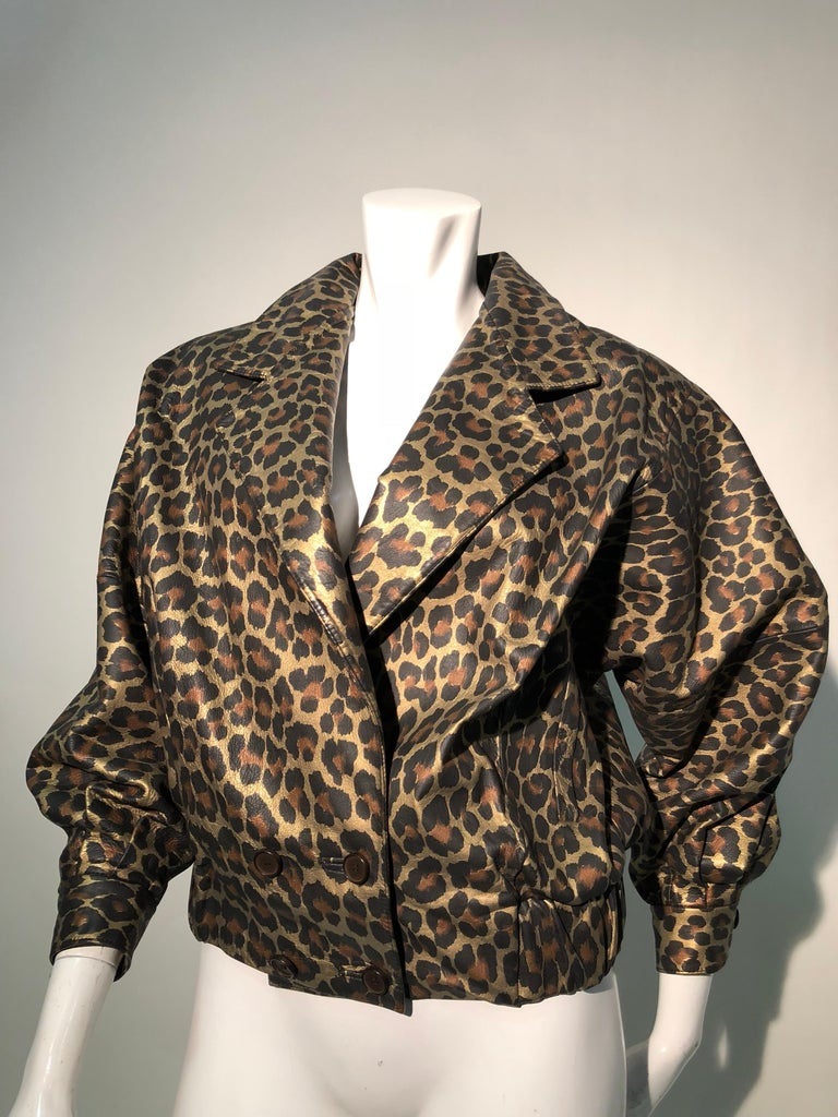 1980s Andrea Pfister Metallic Leopard Print Leather Bomber Jacket 2