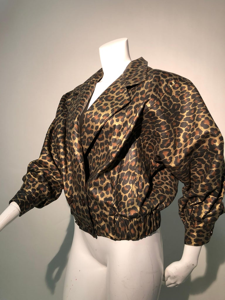 1980s Andrea Pfister Metallic Leopard Print Leather Bomber Jacket 3