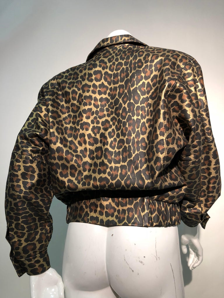 1980s Andrea Pfister Metallic Leopard Print Leather Bomber Jacket 4