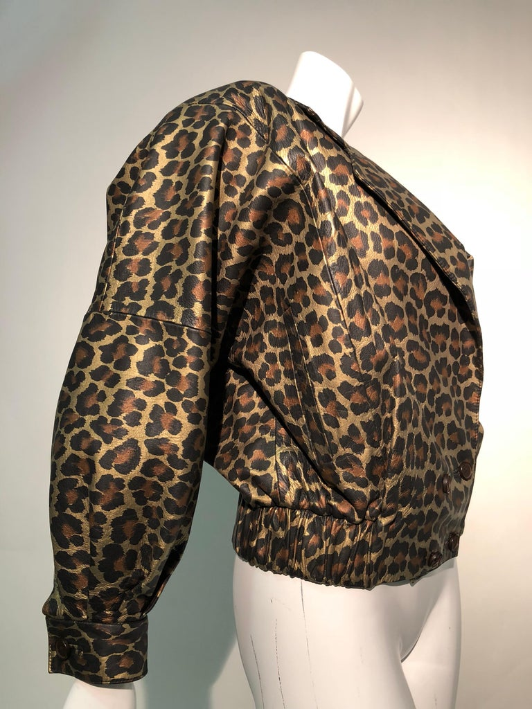 1980s Andrea Pfister Metallic Leopard Print Leather Bomber Jacket 5
