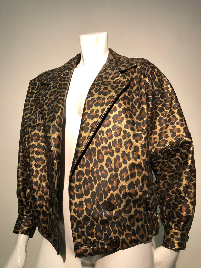 1980s Andrea Pfister Metallic Leopard Print Leather Bomber Jacket 6