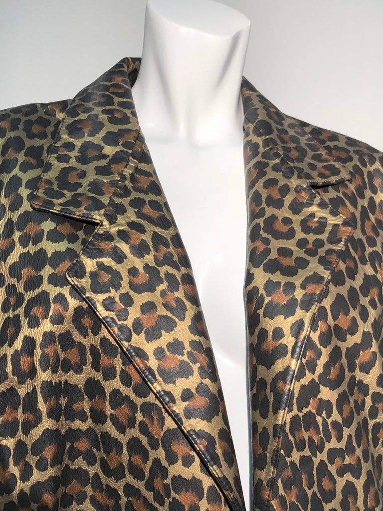 1980s Andrea Pfister Metallic Leopard Print Leather Bomber Jacket 7