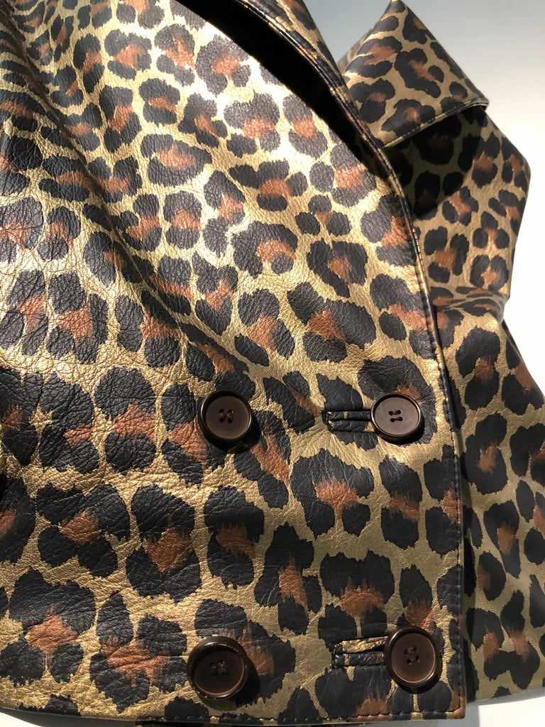 1980s Andrea Pfister Metallic Leopard Print Leather Bomber Jacket 8