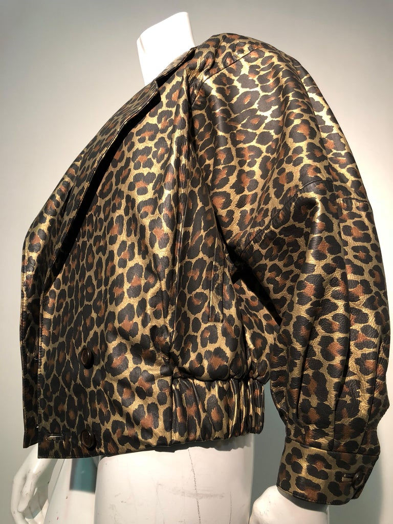 1980s Andrea Pfister Metallic Leopard Print Leather Bomber Jacket 9