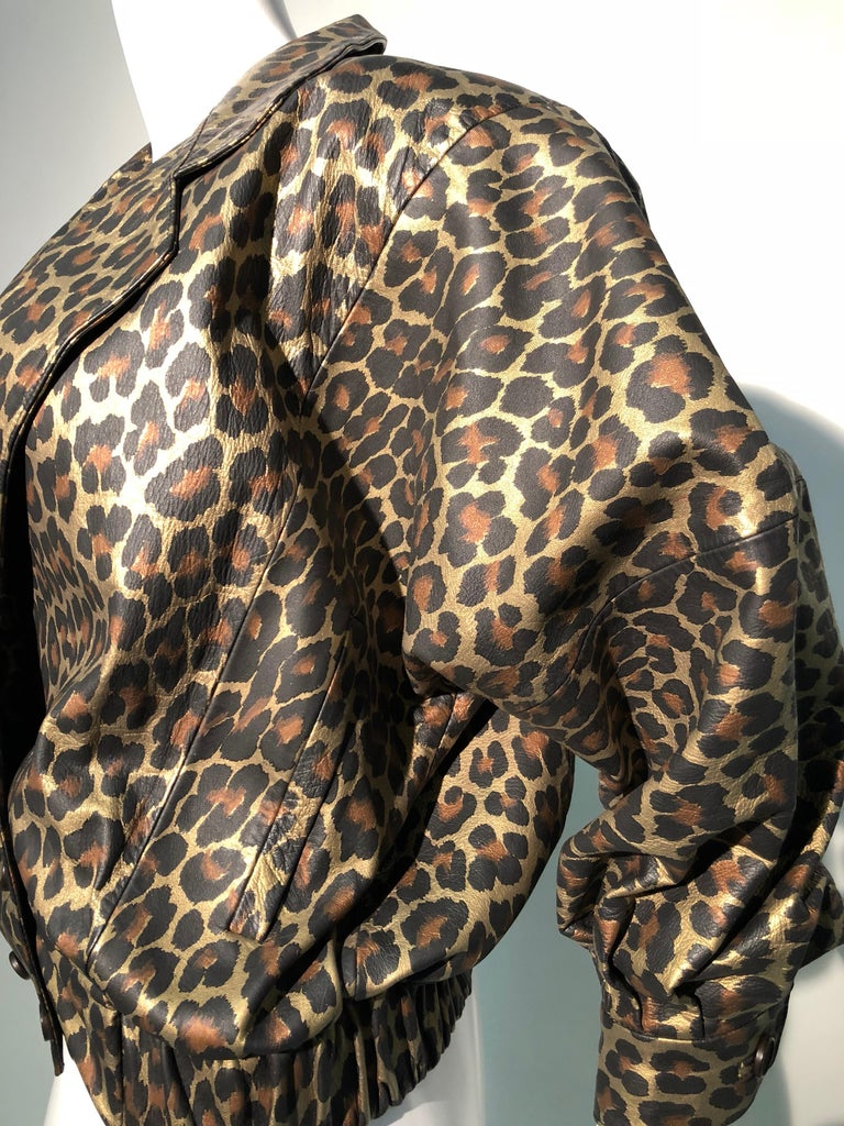 1980s Andrea Pfister Metallic Leopard Print Leather Bomber Jacket 12