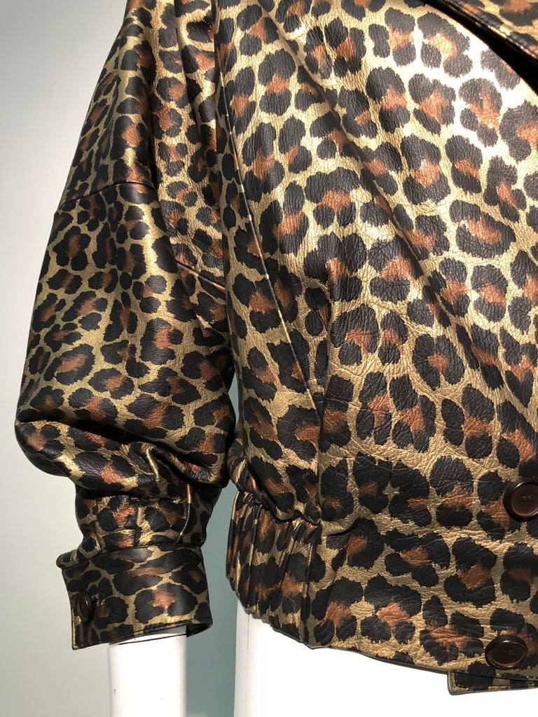 1980s Andrea Pfister Metallic Leopard Print Leather Bomber Jacket 13