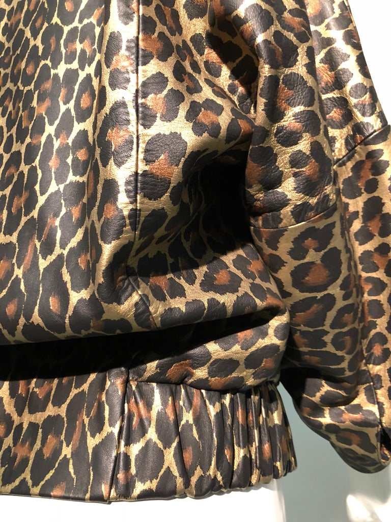 1980s Andrea Pfister Metallic Leopard Print Leather Bomber Jacket 14