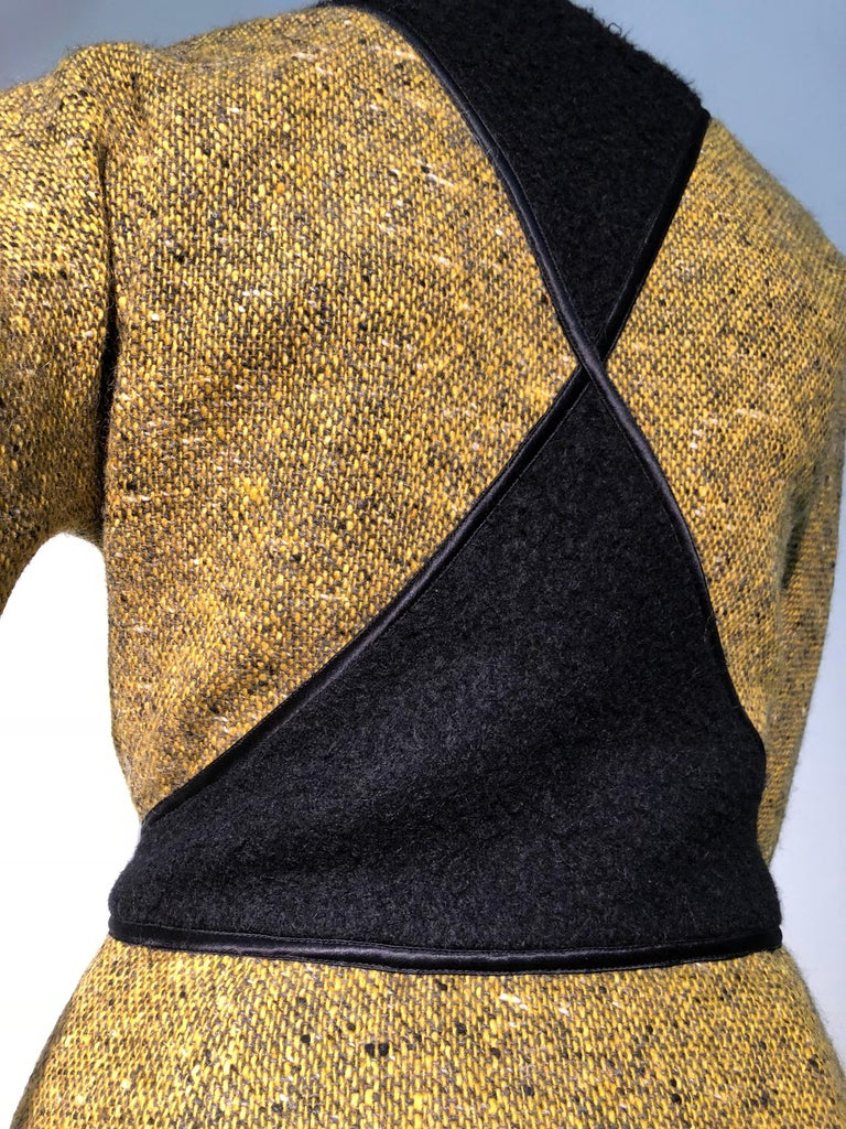 1990s Geoffrey Beene Goldenrod & Black Wool 2-Piece Tweed Dress and Jacket  In Excellent Condition For Sale In San Francisco, CA