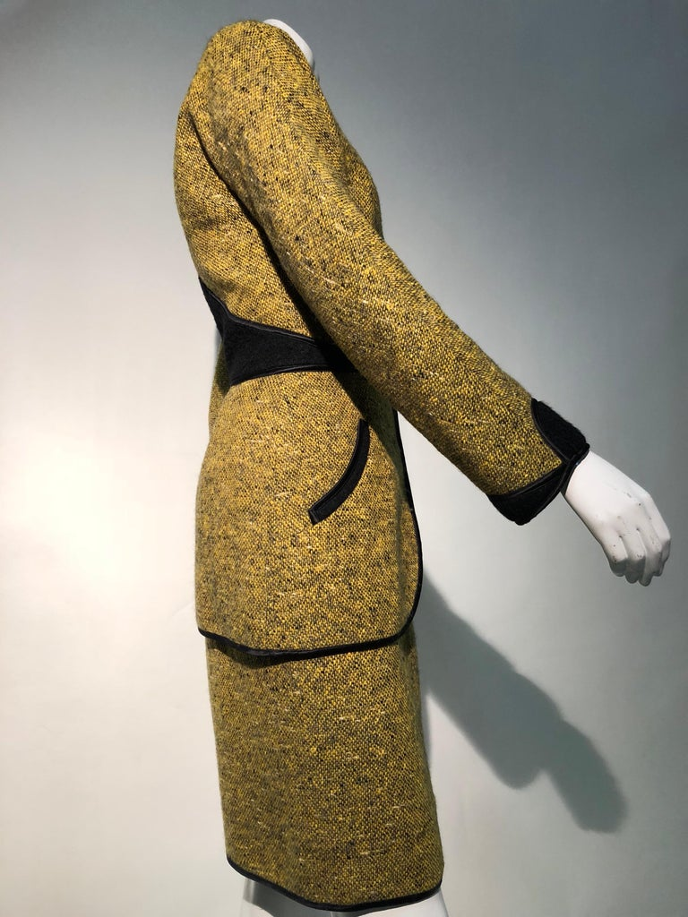 Women's 1990s Geoffrey Beene Goldenrod & Black Wool 2-Piece Tweed Dress and Jacket  For Sale
