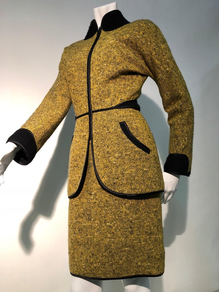1990s Geoffrey Beene Goldenrod & Black Wool 2-Piece Tweed Dress and Jacket  For Sale 2