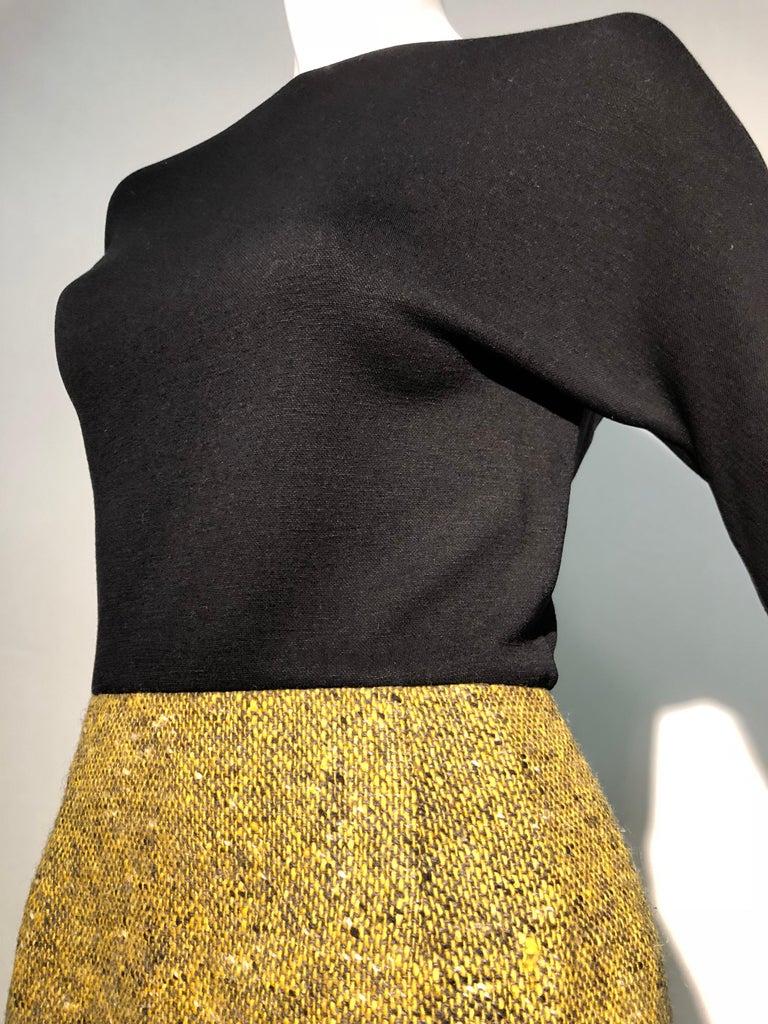 1990s Geoffrey Beene Goldenrod & Black Wool 2-Piece Tweed Dress and Jacket  For Sale 6