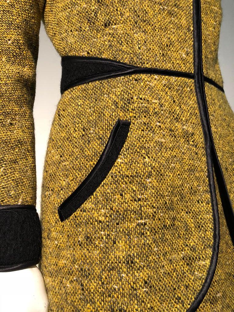 1990s Geoffrey Beene Goldenrod & Black Wool 2-Piece Tweed Dress and Jacket  For Sale 9