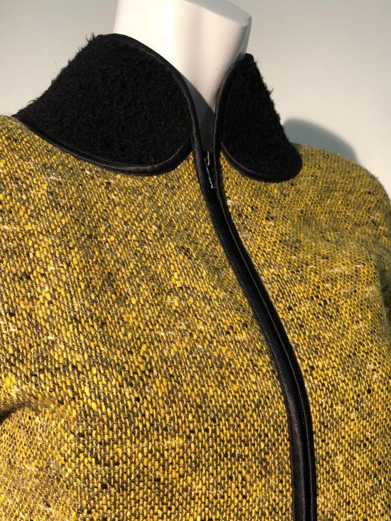 1990s Geoffrey Beene Goldenrod & Black Wool 2-Piece Tweed Dress and Jacket  For Sale 10