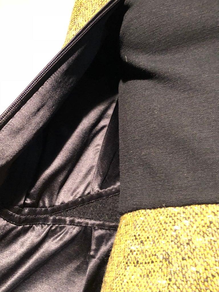 1990s Geoffrey Beene Goldenrod & Black Wool 2-Piece Tweed Dress and Jacket  For Sale 15